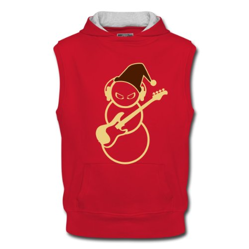 Spreadshirt, bad snowman guitar, Men's Sleeveless Hoodie, red/ash, XL