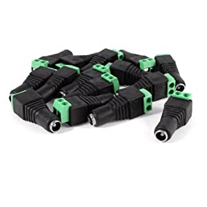 15 Pcs Black Green 5.5x2.1mm Female CCTV DC Power Connector Plug Adapters