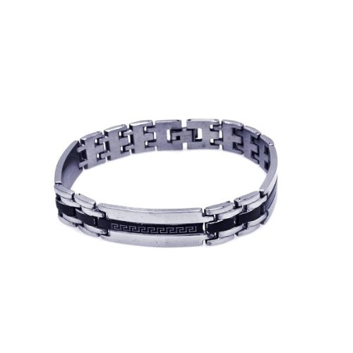 Celtic Design On Black Stripe Stainless Steel Bracelet Bracelets Men's