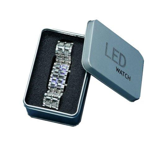 WLM Women Luxurys Lava Iron Samurai Metal LED Faceless Bracelet Watch With Box