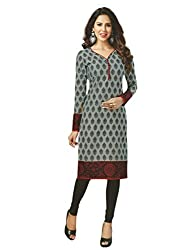 PShopee Cotton Printed Grey Unstitched Kurti/Top Material