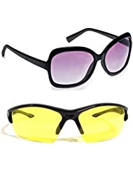 New Stylish UV Protected Combo Pack Of Sunglasses For Women / Girl ( BlackButterfly-YellowNightVision ) ( CM-SUN...