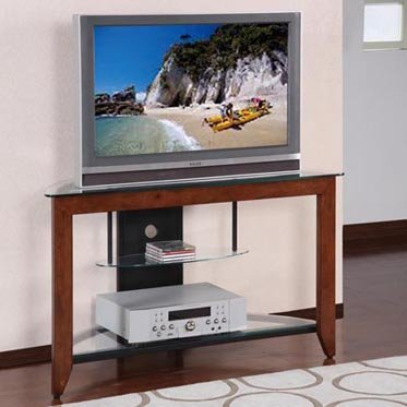 Medium Cherry and Black Corner TV Stand