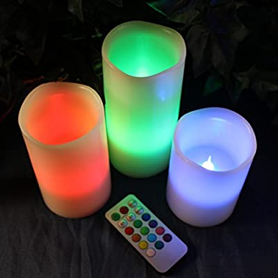 Best Cheap Deal for LED Lytes Flameless Candles, Multi Color Changing Option Battery Operated Set of 3 Ivory Wax and Remote by LED Lytes - Free 2 Day Shipping Available