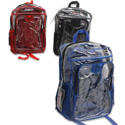"1 piece of 18"" PRO SPORT BACKPACK CLEAR PVC w SIDE POCKET (Random Color)"