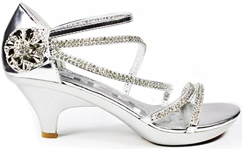 JJF Shoes AG Silver Crystal Flower Rhinestone Evening Dress Ankle Strappy Low Heel Sandals-8