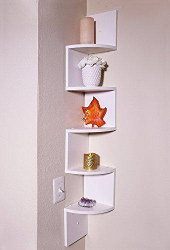 Adorn Large 5-Tier Corner Shelf, Wall Mount,White