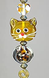 Loveable Tawny Amber Tabby Cat with Heart & Leopard Print Lampwork Glass Light or Ceiling Fan Pull