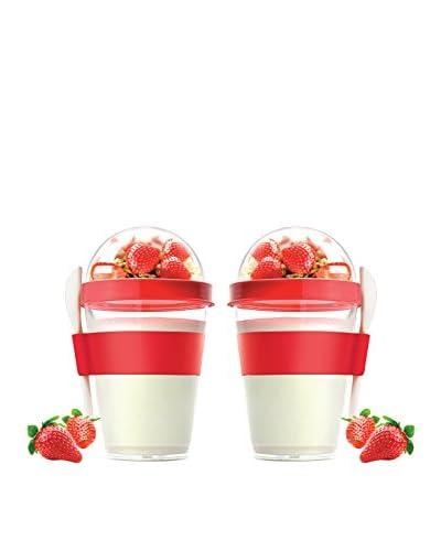 asobu Set of 2 YO2GO Yogurt Containers, Red