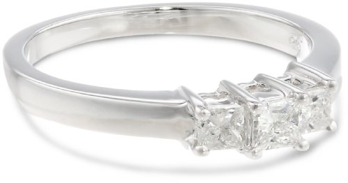 Price Comparisons 14k White Gold Princess-Cut 3-Stone Diamond Ring (1/2 cttw, I-J Color, I1-I2 Clarity), Size 7