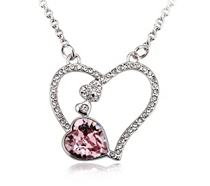 Austrian Crystal Heart Pendant Necklace, 18 Inches (Light Rose)