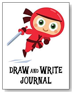 Draw and Write Journal For Children - Cute little red ninja makes a fun cover for this draw and write journal for younger children.