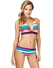 Halterneck Striped Bikini Top
