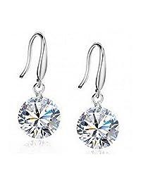 Habors White Gold 8mm Crystal Earrings For Women - JFED0570WG