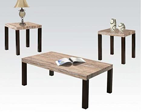 Coffee Table Set with Faux Marble Top by Acme Furniture