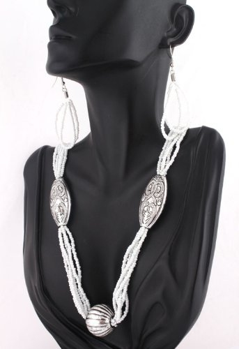 Ladies White Egyptian Style Earrings and Pendant Necklace Jewelry Set