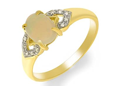 9ct Yellow Gold Opal and 0.050ct Diamond Ring