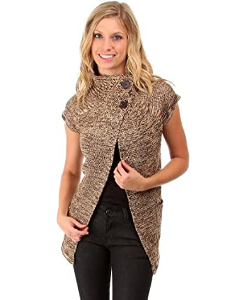 G2 Fashion Square Button Neck Short Sleeved Open Sweater(TOP-SWT,BRN-S)