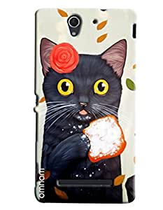 Omnam Black Cat Eating Bread Printed Designer Back Cover Case For Sony Xperia C3