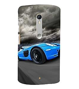 Blue Racing Car 3D Hard Polycarbonate Designer Back Case Cover for Moto G Turbo Edition