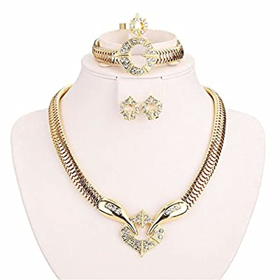 Moochi 18K Gold Plated Africa Royal Style Necklace Earrings Ring Bracelet Jewelry Set Costume Show