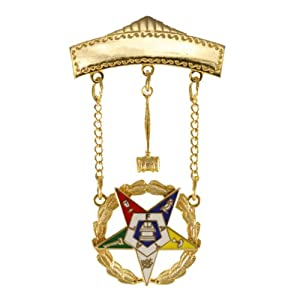 Order of the Eastern Star OES Past Matron 2 Inch Tall Jewel with Safety Clutch