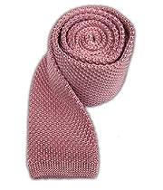 100% Silk Knit Baby Pink Skinny Tie