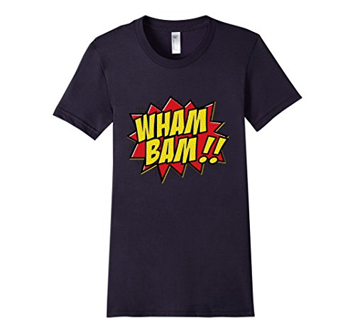 Womens-EmmaSaying-Wham-Bam-Pop-Art-Retro-Teen-Bazooka-Style-Shirt-Navy