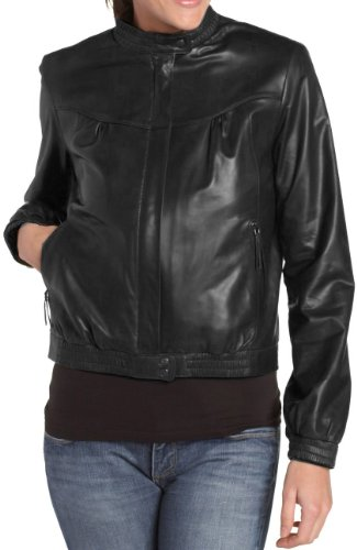 Handmade Fitters Simple Leather Jacket for Women - XXX-Large - Black