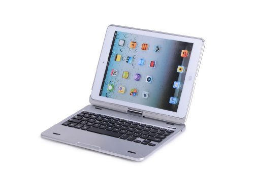 Cooper Cases (TM) Kai S360 Apple iPad Air クラムシェルキーボードケース(シルバー)(MacBookのようなデザイン、QWERTYキーボード内蔵、Bluetooth 3.0接続、マグネット製蝶つがい、折り畳み式キーボード)