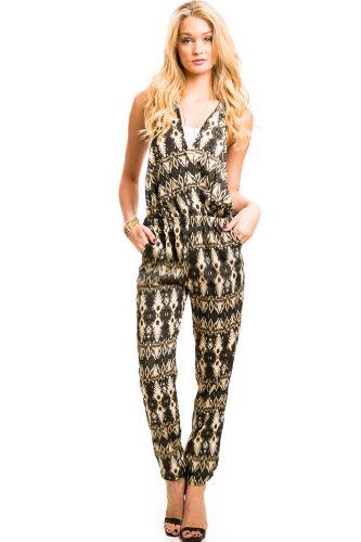 Si Style Deco Cross Back Jumpsuit in Green