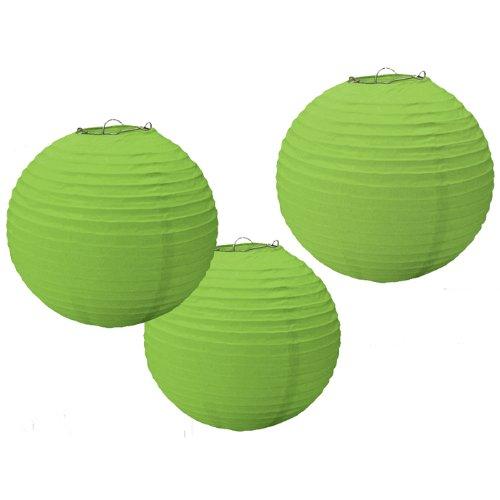 "Amscan Bright Kiwi Round Paper Lanterns, 9 1/2"", Green"