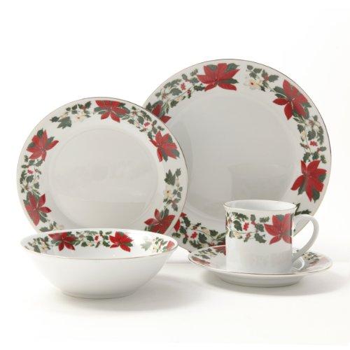 Gibson Poinsettia Holiday Dinnerware Set, 20-Piece
