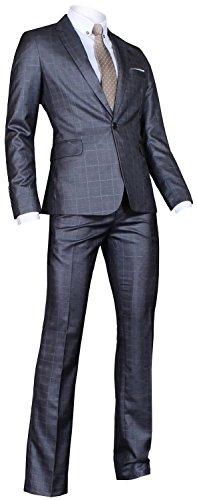 Ywwh Men'S Suit Jj75 Slim Fit Semi-Shiny Vested Suit 3 Pcs Set - Dark Blue Gray Plaid