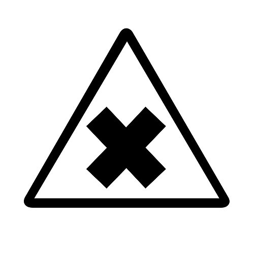 Auto Vynamics - Bmpr-Triangle-Irritant-5-Gbla - Gloss Black Irritant Symbol Caution Triangle Warning Sign - (1) Decal - 5-By-4.375-Inches front-75733