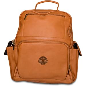 NBA Detroit Pistons Tan Leather Large Computer Backpack by Pangea Brands