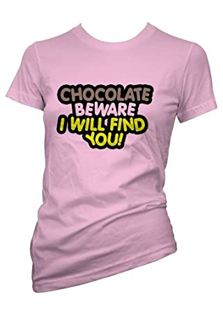 Ladies Funny tshirt Light Pink Chocolate B Aware T shirt Size Small-36