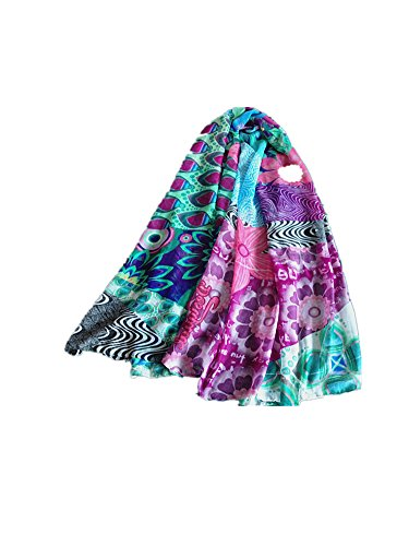 DAYAN Retro colorati sciarpe scialle sciarpa donne 105 * 175cm style D