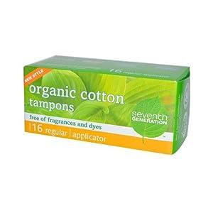 Seventh Generation Chlorine Free Organic Cotton Tampons - Regular -- 16 Tampons