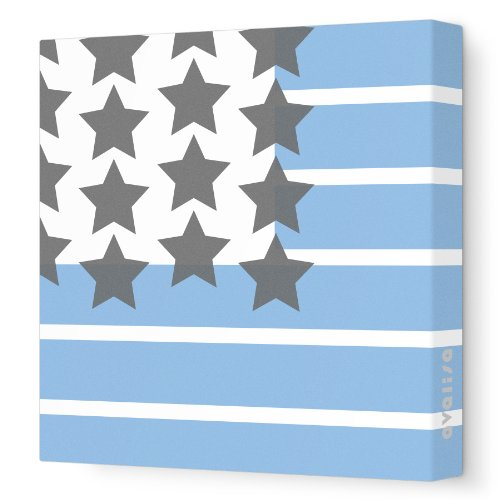 "Avalisa Stretched Canvas Nursery Wall Art, Stars and Stripes, Blue, 18"" x 18"""