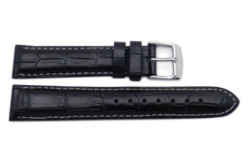 Genuine Leather Alligator Grain Black With White Stitching Semi-Gloss Watch Band