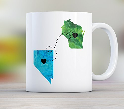 Dad, Personalized Long Distance State Mug with Quote, All States Available, Countries and Provinces too 11oz or 15oz