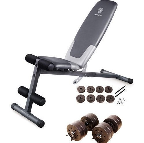 Gold's Gym Weight Bench & 40 lb Dumbbell Set Exercise Weights Lifting Workout (Quest Bars Cheap compare prices)