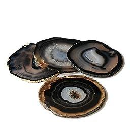 Eastmagic Dyed Sliced Agate Coasters - Set of 4 (Black)