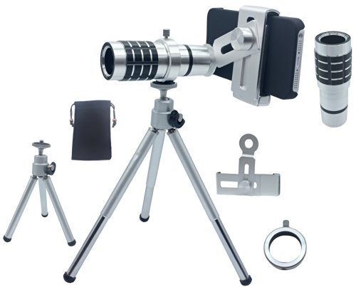 Lesung®12X Magnifier Zoom Aluminum Universal Manual Focus Telephoto Telesocpe Phone Camera Lens Kit With Tripod For Iphone 4 4S 5 5S 5C Itouch Samsung Galaxy S3/I9300/S4/I9500/S5/Note 1/2/3(B)