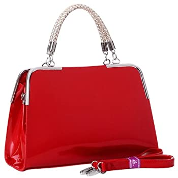 Gloss without the glitz? Add a touch of sleek, sophisticated style to any outfit and any occasion when you keep this stylish tote bag close at hand. From the shiny patent leather exterior to the added sparkle of braided gold manmade material on the d...