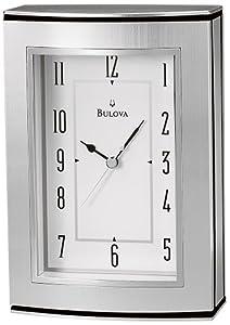 Bulova Genesis Silver Tone Table Clock - B2651