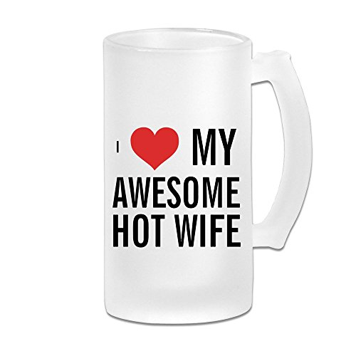 KIYOMM I Love My Awesome Hot Wife Frosted Beer Glasses White