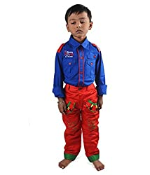 Motley Boys' Cotton Shirt And Pant (motley7ss_5-6 Years_Blue _5-6 Years)