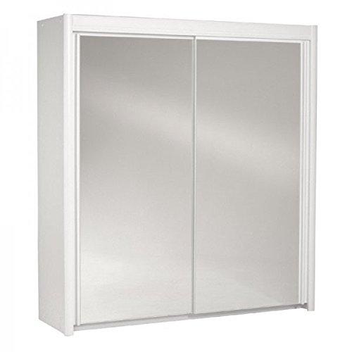 Schwebetürenschrank weiß 2 Türen B 203 cm Holz Schrank Spiegelschrank Schwebetürenschrank Kinderzimmer Jugendzimmer Kinderzimmerschrank günstig online kaufen